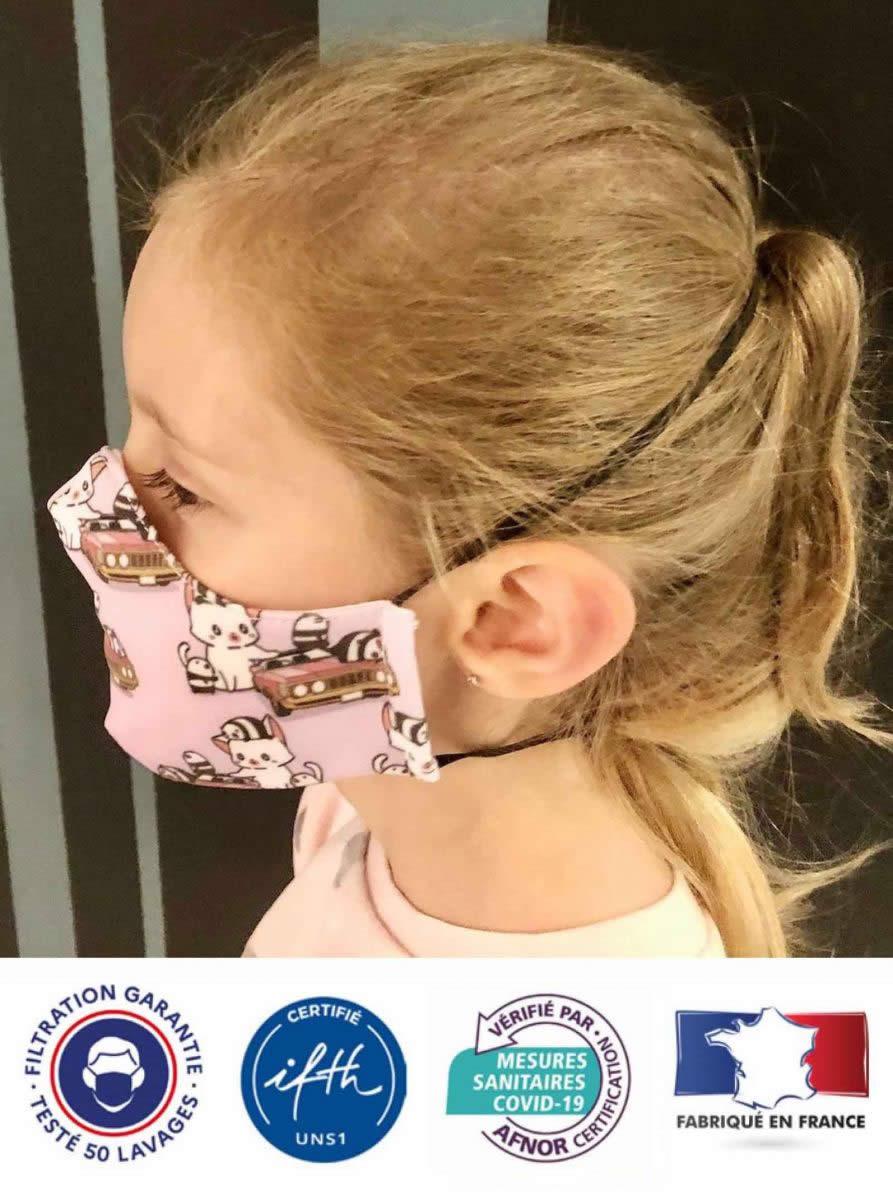 masque tissu enfant lavable 50 fois