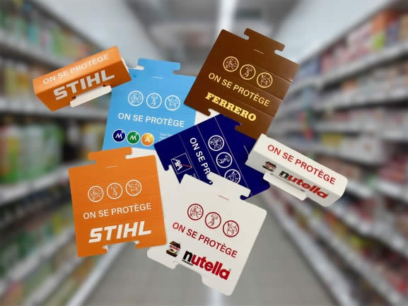 poignee en carton pour caddie de supermarché