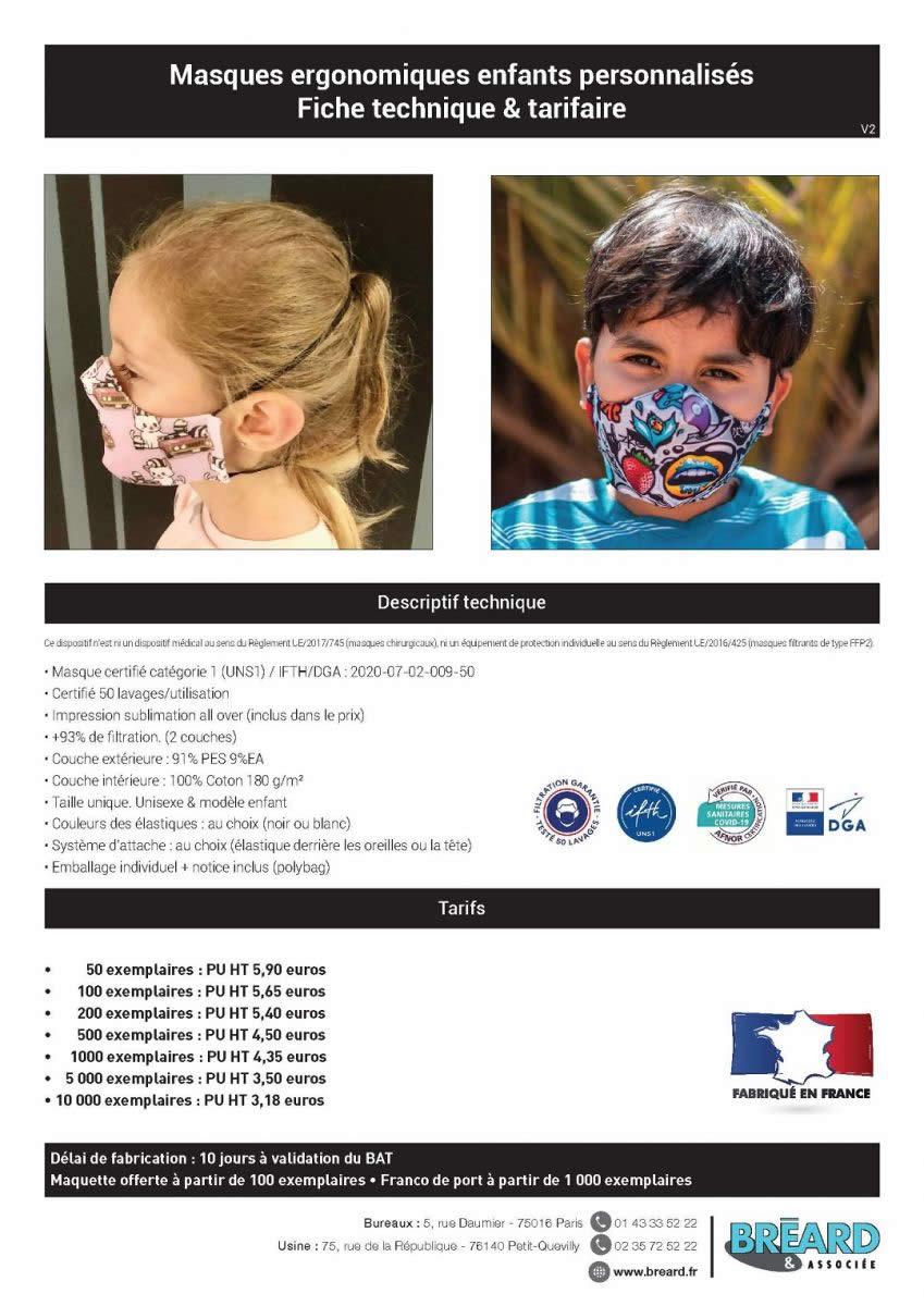 prix masque ergonomique enfant