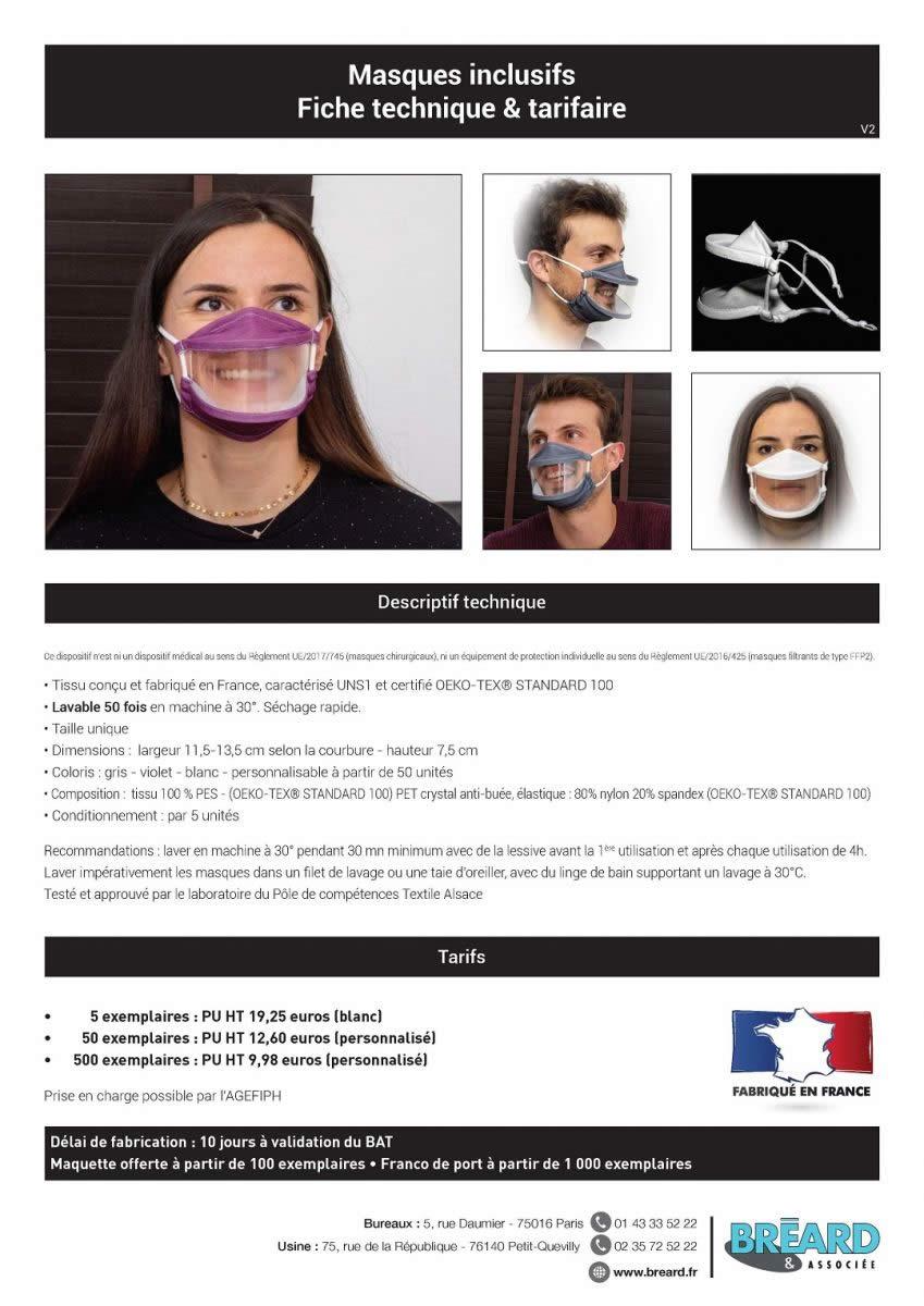 prix des masques inclusifs fabriqués en France