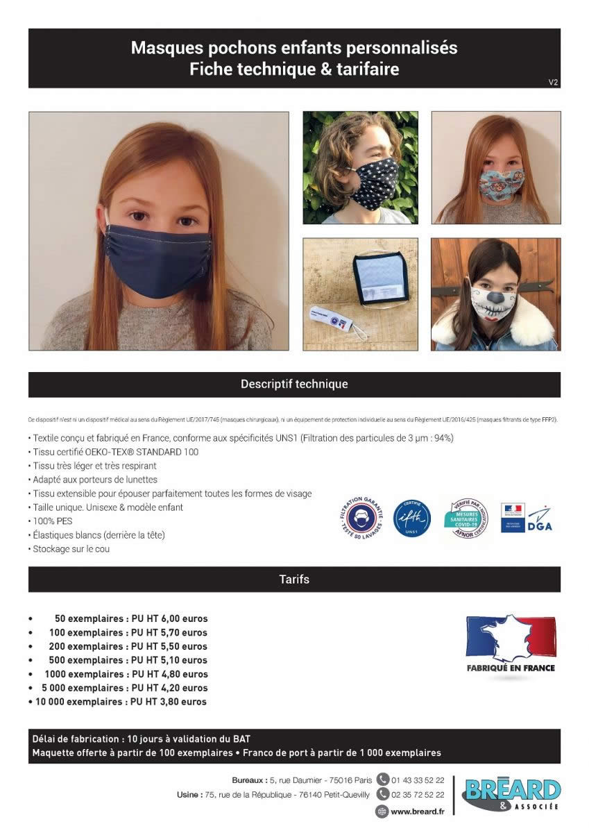 prix masque tissu enfant afnor