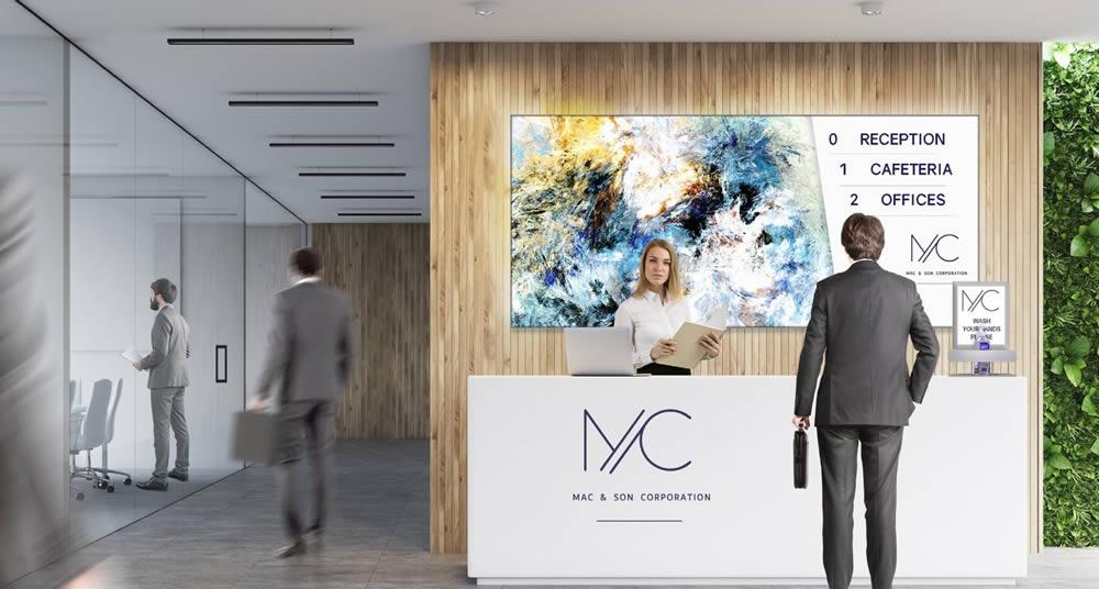 décoration hall accueil entreprise avec un cadre textile mural led