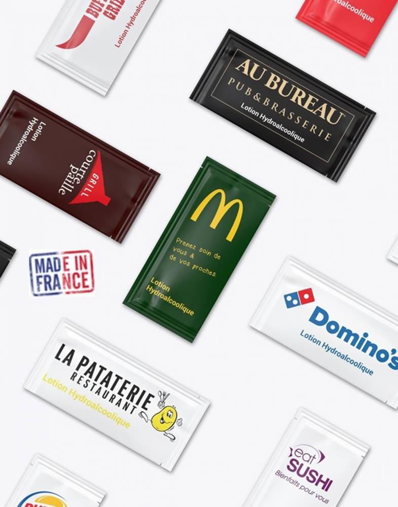 sachet publicitaire de lotion antiseptique pour les mains