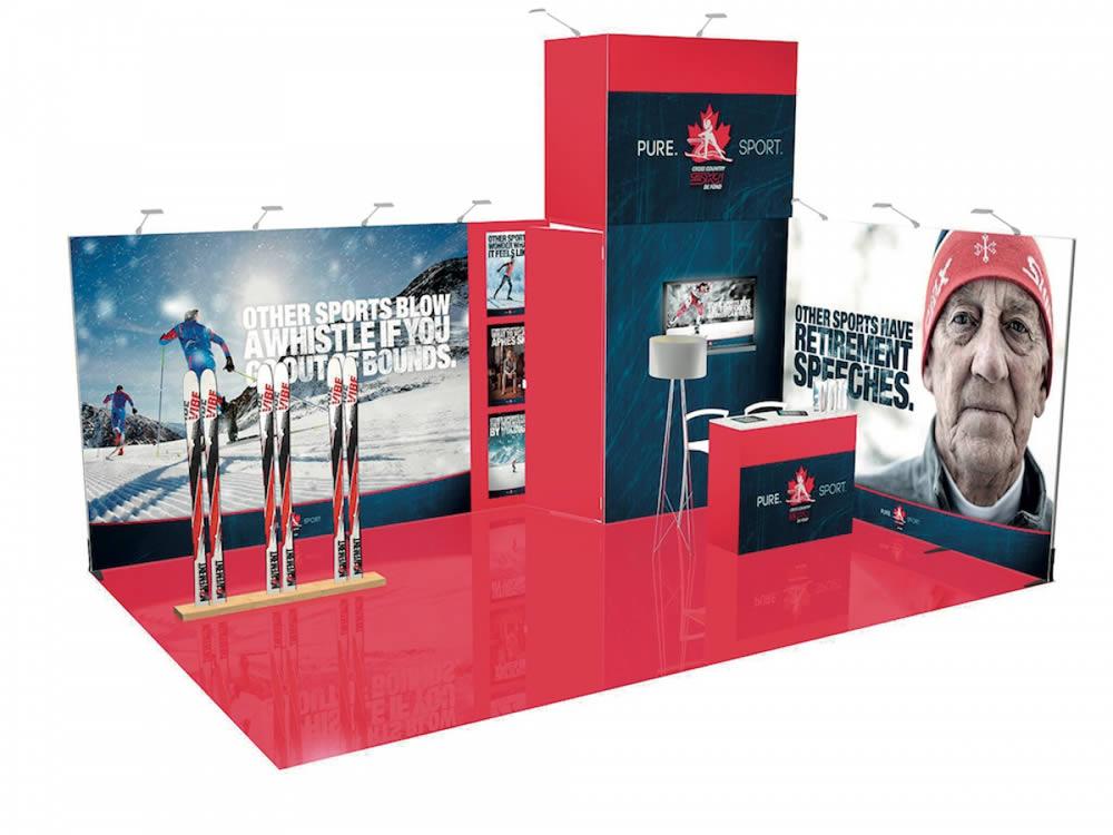 stand design sur mesure en tissu