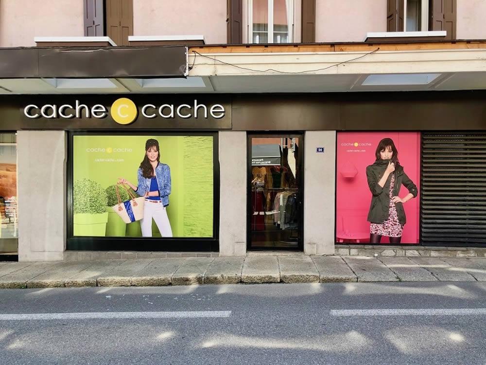 vitrophanie vynil adhésif vitrine Cache Cache