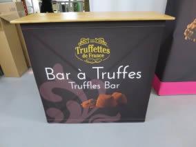 comptoir accueil pliable tissu Truffettes de France