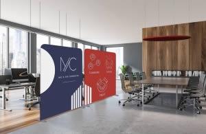 décoration salle de réunion avec un disque suspendu acoustique