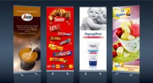 kakemono roll up Segafredo, Nestle, Eucerin et La Laitière