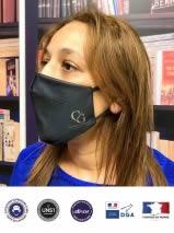masque tissu noir avec logo