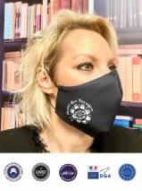 masque tissu noir ergonomique avec logo