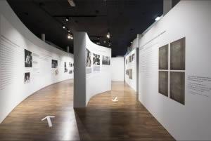 mur courbe en tissu musée