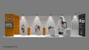 stand Astera rendu 3D vue de face