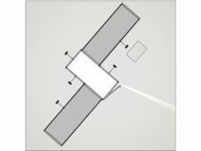stand avec arche et réserve reconfigurable vue de dessus