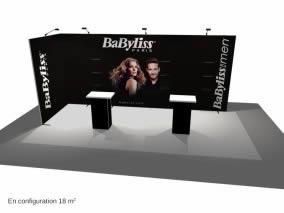 stand Babyliss rendu 3D vue de côté