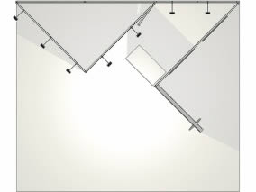 stand design original sur mesure en tissu tendu vue de dessus