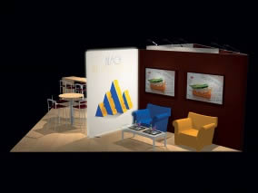 stand design original sur mesure en tissu tendu vue perspective