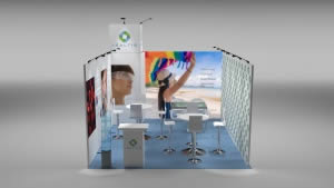 stand Isaltis avec light box rendu 3D