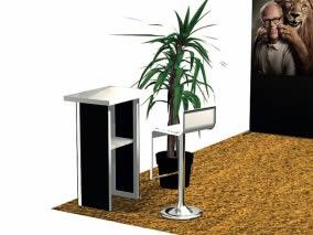 stand modulaire reconfigurable design vue banque accueil