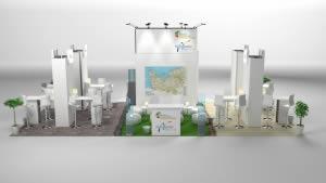 stand Normandie pour la vie rendu 3D vue de face