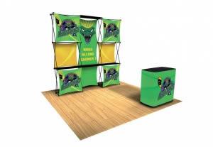 stand pliable visuel tissu avec banque accueil