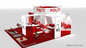 stand Polti avec caisson lumineux rendu 3D