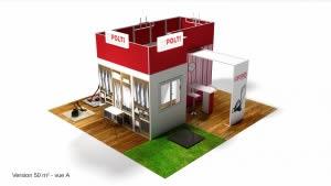 stand Polti version 50m2 vue A rendu 3D