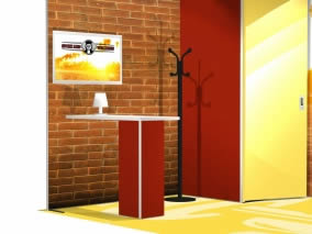 stand reconfigurable en tissu avec table discussion