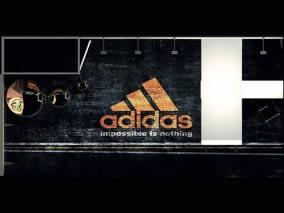 stand sur mesure design Adidas vue moquette personnalisée