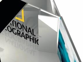 stand tissu tendu sur mesure Nation Geographic vue arche