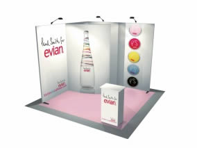 Stand nomade avec Stand transportable 9m² courbe