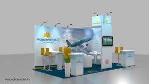stand Vietnam Airlines avec option TV rendu 3D